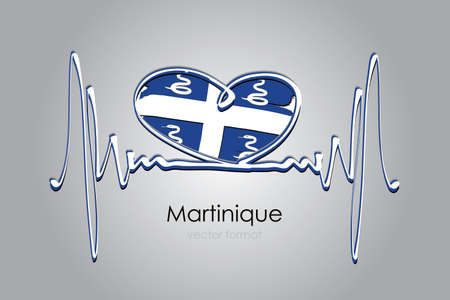 heart and Martinique Flag in Vector Format Vetores