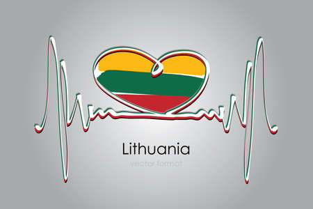 heart and Lithuania Flag in Vector Format