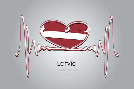 heart and Latvia Flag in Vector Format Çizim