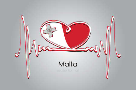 heart and Malta Flag in Vector Format Çizim
