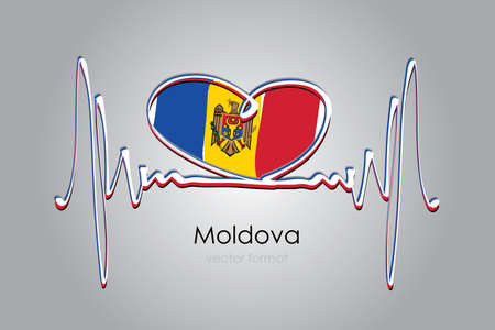 heart and Moldova Flag in Vector Format