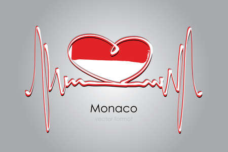 heart and Monaco Flag in Vector Format