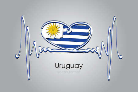 Hand painted heart and Uruguay Flag in Vector Format