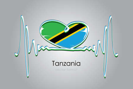 Hand painted heart and Tanzania Flag in Vector Format