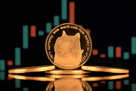 A physical version of Dogecoin (Cryptocurrency). A conceptual image for investors in the fast-growing cryptocurrency and blockchain technology market. Imagens
