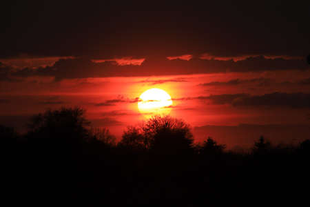 Beautiful sunset and clouds on the last day of april near Wroclaw, Poland, Europe.