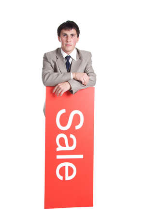 Portrait of a stylish businessman. Shot in studio. Best idea for ad sale. Isolated with clipping path. photo