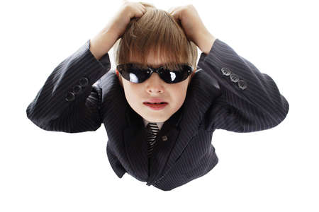 Close-up of boy in business suit. Shot in studio. Isolated with clipping path. Stock Photo - 823997