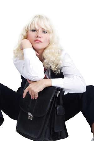 Portrait of a stylish blonde businesswoman. Shot in studio. photo