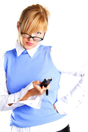 Charming business woman or student with mobile phone. Shot in studio. Stock Photo - 823999