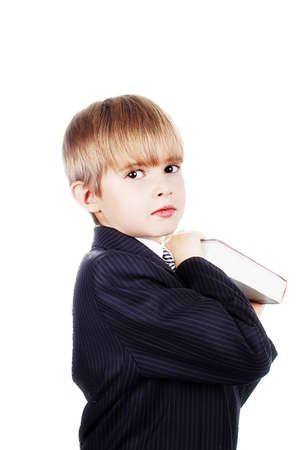 A young boy with his books, against white background. Stock Photo - 824012