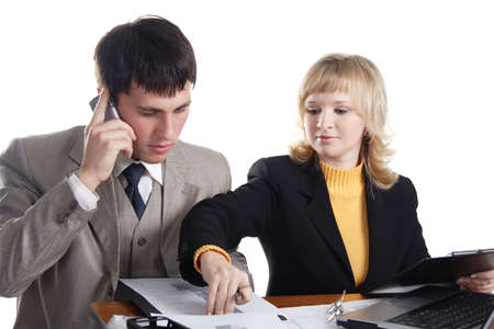 Group of 2 business people working together in the office. Stock Photo - 824021