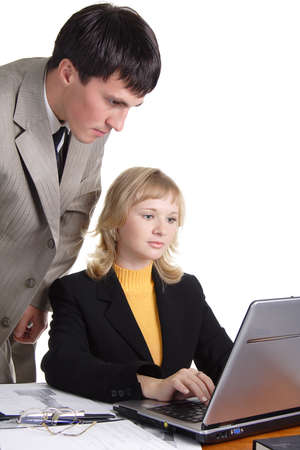 acquaintance: Group of 2 business people working together in the office.