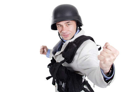 business for the middle: Portrait of a middle age man in a war regimentals. Best idea for artwork in aggressive business, politics, election, war conflict. Stock Photo