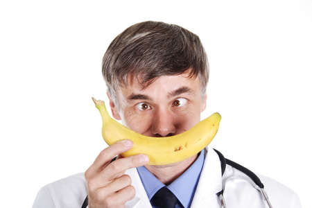 Dietitian with a fruit. photo