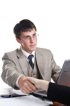 Portrait of a businessman in a working process Stock Photo