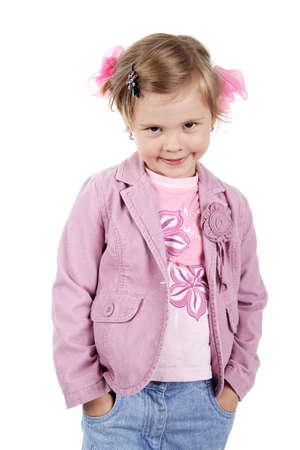 pert: Happy little girl. Shot in studio.