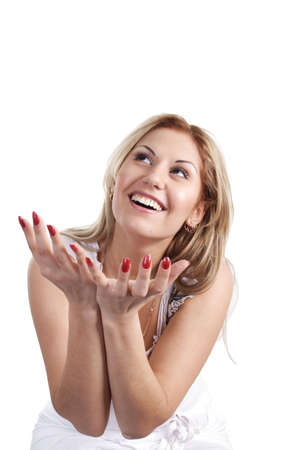 embarrassing: Portrait of a girl with expression emotions. Stock Photo
