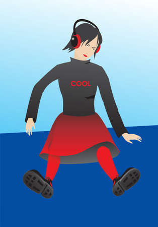 Vector, editable illustration. Layered for easier editing. The background is a separate element, and the main objects are isolated and ready to be used as clips. She can sit on your object. illustration