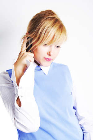 Moden business woman or student speaking on the phone. Shot in studio.  Stock Photo - 805468