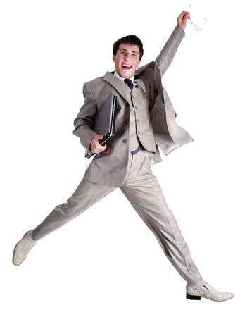 Businessman jumping photo