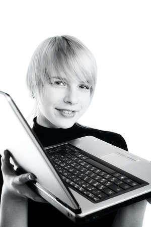 Chica con su ordenador.  Foto de archivo - 805446
