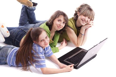 sissy: Girls with a laptop. Shot in studio.