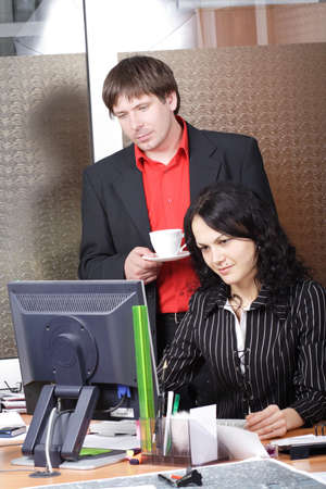 Group of 2 business people working together in the office. Stock Photo - 895767