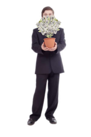 hand tree: Money tree with businessman. Isolated on white.  Stock Photo