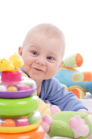 vater und baby: Sch�ne Baby. Shot in Studioqualit�t. Isoliert auf Wei�.  Lizenzfreie Bilder