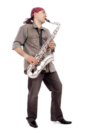 A man playing his wind instrument with expression. Stock Photo - 938036