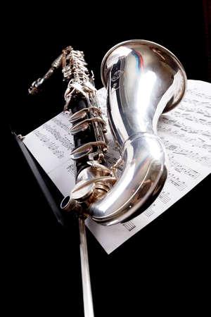 Musical background – instruments. Shot in studio. photo
