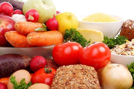 abastecimiento: Verduras frescas y frutas. Filmada en un estudio.  Foto de archivo
