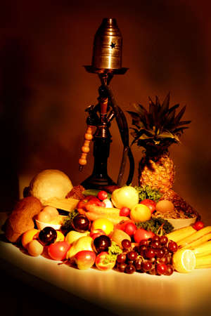 nutriments: Fresh Vegetables, Fruits and other foodstuffs. Shot in a studio.