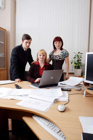 Group of business people working together in the office. photo
