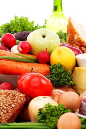 aliments: L�gumes frais, fruits et autres denr�es alimentaires. Tourn� dans un studio.  Banque d'images