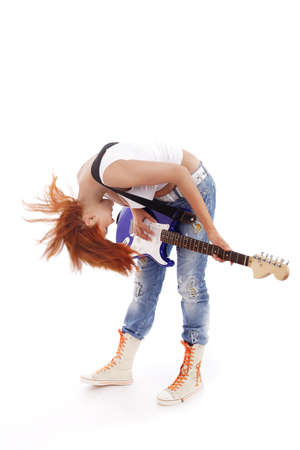 attractiveness: Portrait of a styled professional model. Theme: teens, music. Stock Photo
