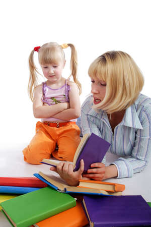 Portrait of a styled children. Theme: education.n photo
