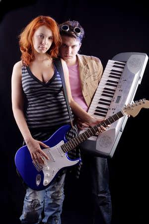 headbang: Portrait of a styled professional model. Theme: teens, music.  Stock Photo