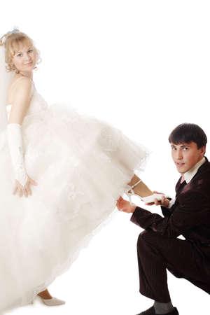 Wedding background: A couple on their wedding day Stock Photo - 1849907