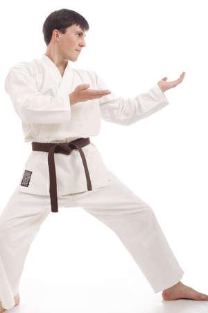 taekwondo: Portrait of a styled professional model. Theme: sport oriental martial art.  Stock Photo