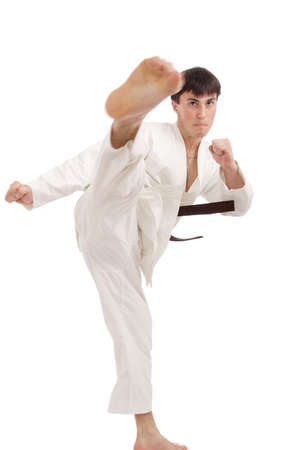 Portrait of a styled professional model. Theme: sport oriental martial art. photo