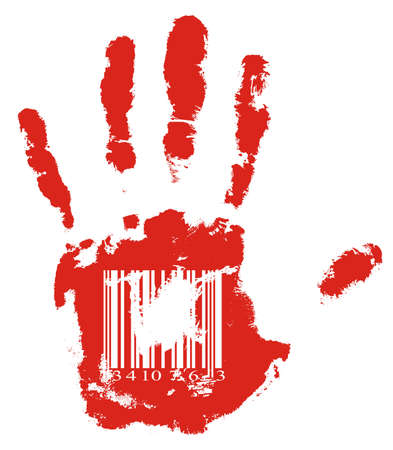 codebar: Identification. Red handprint with barcode.