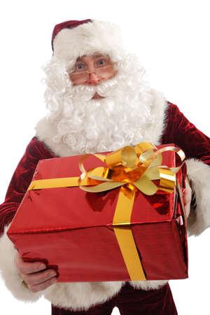 st  nick: Xmas  background: Santa, gifts, kid.