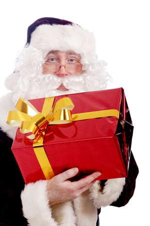 Xmas  background: Santa, gifts, kid. Stock Photo - 2139312