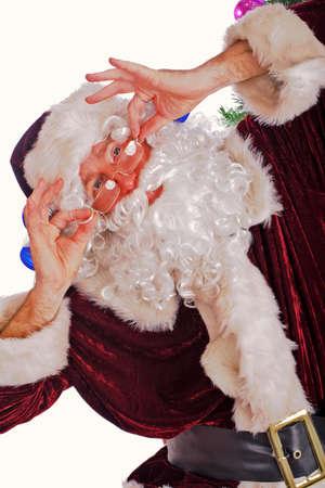 Xmas  background: Santa, gifts, kid. Stock Photo - 2139344