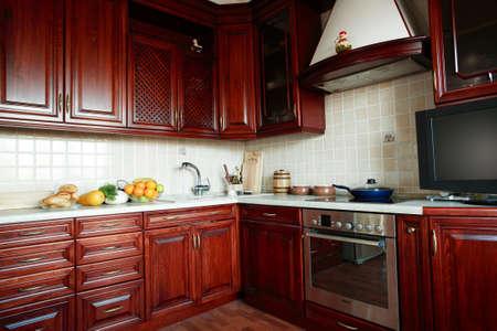fridge lamp: Beautiful modern wooden kitchen interior Stock Photo