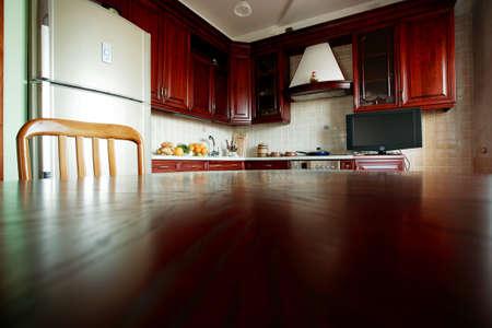 Beautiful modern wooden kitchen interior photo