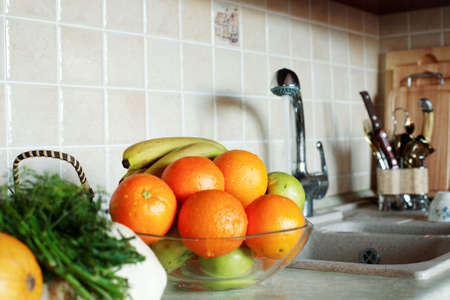 Fresh Vegetables, Fruits and other foodstuffs. Shot in a interior. Stock Photo - 2204522