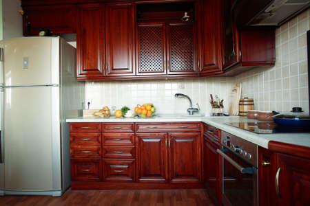 kitchen remodelling: Beautiful modern wooden kitchen interior Stock Photo